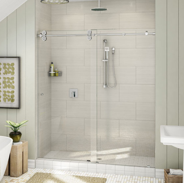 Euro glass sliding doors in shower